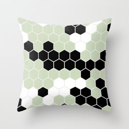 Honey Comb Light Green Geometric Pattern | Home Decor Throw Pillow