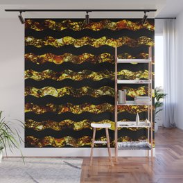Golden Waves - Abstract, black and gold, wavy stripes pattern Wall Mural