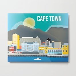 Cape Town, South Africa - Skyline Illustration by Loose Petals Metal Print