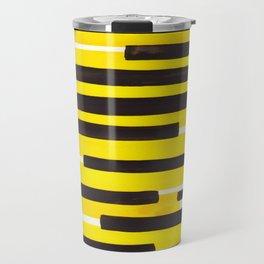 Yellow Primitive Stripes Mid Century Modern Minimalist Watercolor Gouache Painting Colorful Stripes Travel Mug