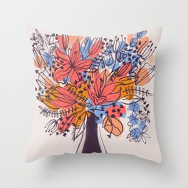 Summer Coral Floral  Throw Pillow
