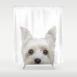 Yorkshire Terrier White Dog illustration original painting print Shower Curtain