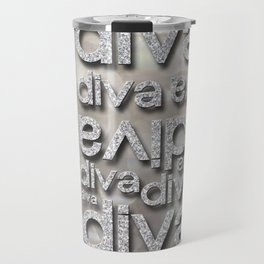 Diva Silver Glitter Repeated Typography Travel Mug
