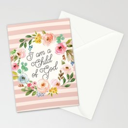 I am a Child of God Stripey Watercolor Floral Stationery Cards