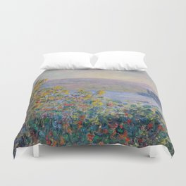 Flower Beds at Vetheuil by Claude Monet Duvet Cover