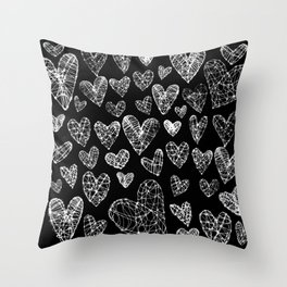 Wire Hearts Pattern in Black Throw Pillow