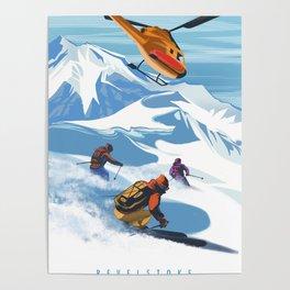 Retro Travel Heliski ski Revelstoke poster Poster