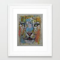snow leopard Framed Art Prints featuring Leopard by Michael Creese