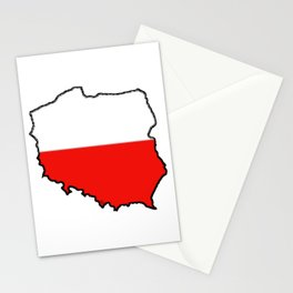 Poland Map with Polish Flag Stationery Cards