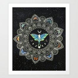 Lunar Moth Mandala with Background Art Print