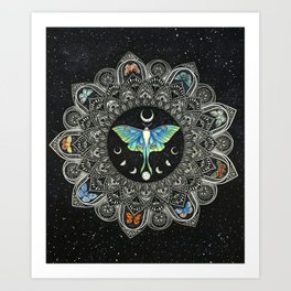 Lunar Moth Mandala with Background Art Print