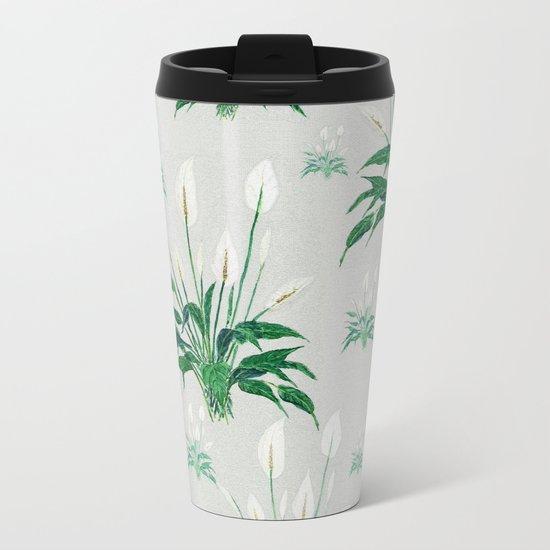 peace lily painting Metal Travel Mug