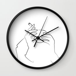 morning coffee, Woman Line Art,cigarette lover ,One Line Drawing,Coffee Print,Woman Pose Wall Clock
