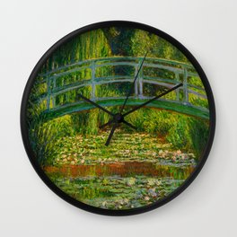 Claude Monet Impressionist Landscape Oil Painting-The Japanese Footbridge and the Water Lily Pool Wall Clock