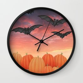 sunset pumpkins & bats Wall Clock