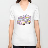 truck V-neck T-shirts featuring Taco Truck by Sabrina May