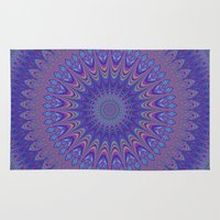 mandala Area & Throw Rugs featuring Purple mandala by David Zydd