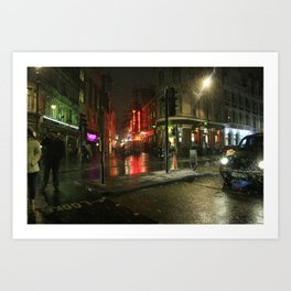 Snowing in London Art Print