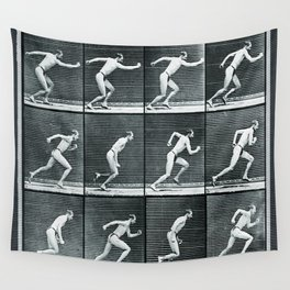 Time Lapse Motion Study Man Running Monochrome Wall Tapestry