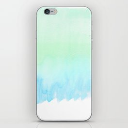 Hand painted turquoise teal blue watercolor ombre brushstrokes iPhone Skin