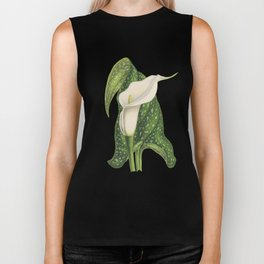 Vintage Flower Calla Lily with Green Leaves Closeup Biker Tank
