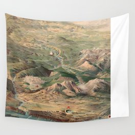 Vintage Pictorial Map of Yellowstone Park (1904) Wall Tapestry