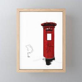 Red, Royal Mail, BRITISH Post Box. (and snow..) Framed Mini Art Print