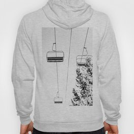 Ski Lift // Black and White Daylight Chairlift Mountain Photograph Hoody
