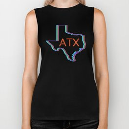 ATX Austin, Texas Retro Neon Lights Biker Tank