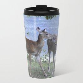 Early Evening Visitors Young Deer -Debra Cortese photo art Metal Travel Mug