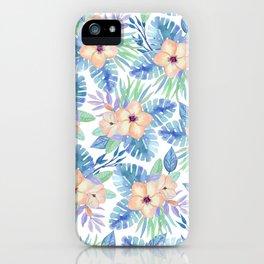 Tropical coral lilac lavender blue watercolor floral iPhone Case