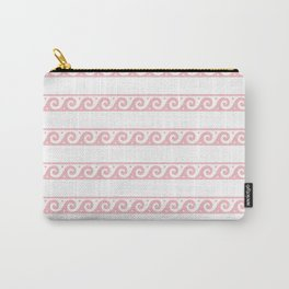 Pink Greek wave pattern Carry-All Pouch