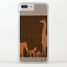 Brown Safari Jungle Zoo Animals Clear iPhone Case