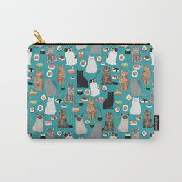 Cat Sushi pattern by pet friendly cute cat gifts for pet lovers foodies kitchen Carry-All Pouch