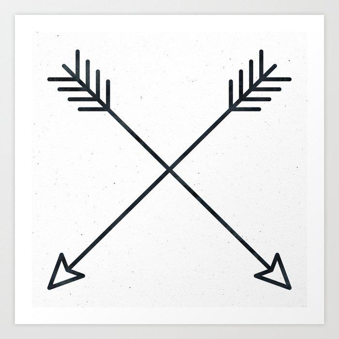 Arrows - Black and White Arrow Adventure Wanderlust Vintage Compass Design Kunstdrucke