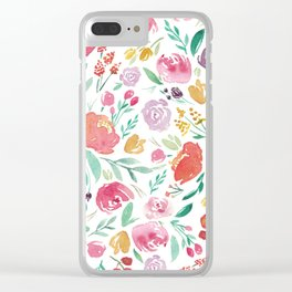 Peony Roses and Floral blooms Clear iPhone Case