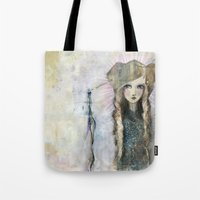 jane davenport Tote Bags featuring Gesso Geisha by Jane Davenport by Jane Davenport