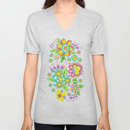 Background colorful flowers, doodleart, abstract graphic-desing vector pattern Unisex V-Neck