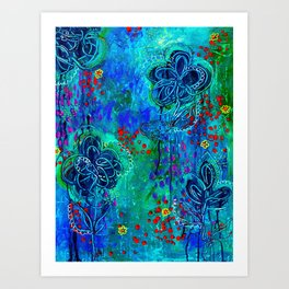 In Too Deep - Blue Abstract Flowers Art Print