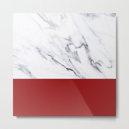 White Marble Red Hot Striped Metal Print