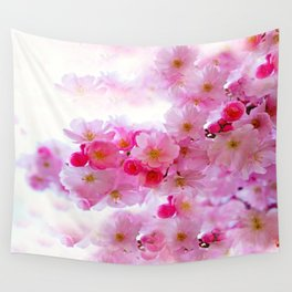 Cherry Blossom Tree So Pink Wall Tapestry