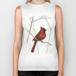 What a Card -- Cardinal in forest Biker Tank