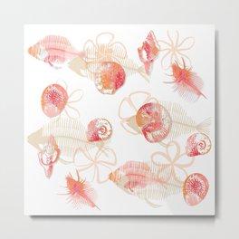Fish Fossils - White Metal Print