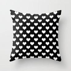 Black White Hearts Throw Pillow