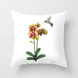 Hummingbird & Phalaenopsis Throw Pillow
