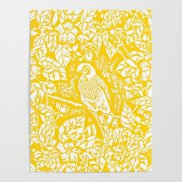 Gen Z Yellow Parakeet Lino Cut Poster