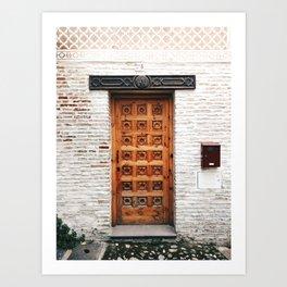 Door with islamic design in Granada, Spain - Travel photography Art Print