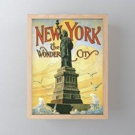 new york statue of liberty vintage travel poster ganesh Framed Mini Art Print