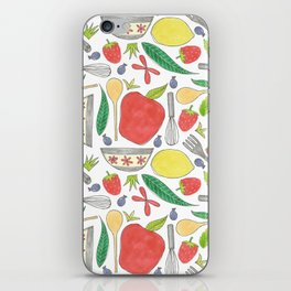 doodle style kitchen elements iPhone Skin