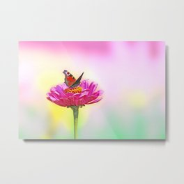 Butterfly landing on pink flower Metal Print
